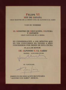 Placa de Honor de la Orden de Alfonso X el Sabio